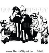 Vector Clipart of Vintage Black and White Children Climbing on Their Father by Prawny Vintage
