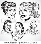 August 19th, 2017: Vector Clipart Retro Black and White Female Faces by BestVector