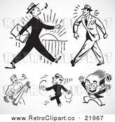 August 19th, 2017: Vector Clipart Retro Black and White Happy Businessmen by BestVector