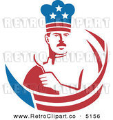 Vector Retro Clipart of a American Stars and Stripes Male Chef by Patrimonio