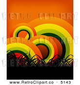 Vector Retro Clipart of a Background of Grass and Rainbow Circles on Orange by Creativeapril