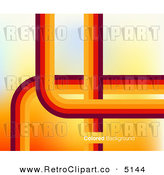 Vector Retro Clipart of a Background of Orange and Red Curves Lines with Sample Text by Creativeapril