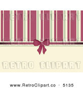Vector Retro Clipart of a Background of Pink and Beige Stripes Bow and Ribbon by Elaine Barker