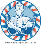 Vector Retro Clipart of a Barber Holding Clippers and Scissors in a Circle by Patrimonio