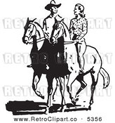 Vector Retro Clipart of a Black and White Cowboy and Cowgirl on Horses by BestVector