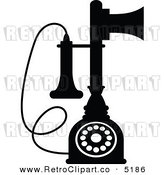 Vector Retro Clipart of a Black and White Desk Candlestick Phone by Seamartini Graphics