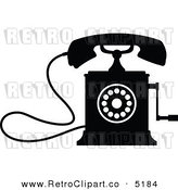 Vector Retro Clipart of a Black and White Desk Crank Phone by Seamartini Graphics