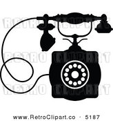 Vector Retro Clipart of a Black and White Desk Phone by Seamartini Graphics