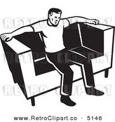 Vector Retro Clipart of a Black and White Guy Sitting on a Couch by Patrimonio