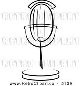 Vector Retro Clipart of a Black and White Microphone by Seamartini Graphics Media