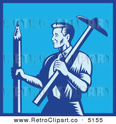 Vector Retro Clipart of a Blue Architect Holding a Large Pencil and T-Square by Patrimonio