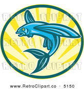 Vector Retro Clipart of a Blue Flying Fish Jumping over Sunshine by Patrimonio
