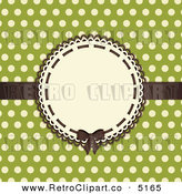 Vector Retro Clipart of a Brown Bow and Frame with Beige Polka Dots on Green by Elaine Barker