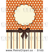 Vector Retro Clipart of a Brown Bow with Orange and Beige Stripes a Frame and Polka Dots by Elaine Barker