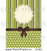Vector Retro Clipart of a Brown Bow with Stripes Frame and Polka Dots on Green by Elaine Barker
