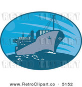 Vector Retro Clipart of a Cargo Ship by Patrimonio