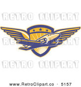 Vector Retro Clipart of a Commercial Airplane over a Winged Pilot Shield by Patrimonio