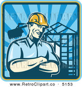 Vector Retro Clipart of a Construction Worker Foreman with a Home Being Built in the Background by Patrimonio