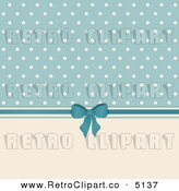 Vector Retro Clipart of a Cream and Blue Polka Dot Background with a Bow by Elaine Barker