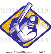 Vector Retro Clipart of a Cricket Player Batsman by Patrimonio