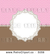 Vector Retro Clipart of a Decorative Circular Frame over Pink and Brown by KJ Pargeter
