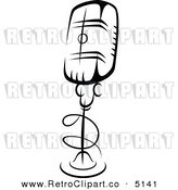 Vector Retro Clipart of a Desk Microphone by Seamartini Graphics Media