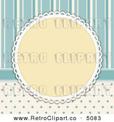 Vector Retro Clipart of a Doily Frame on Blue Polka Dots and Stripes by Elaine Barker