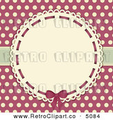Vector Retro Clipart of a Doily Frame on Pink and Beige Polka Dots by Elaine Barker