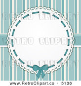 Vector Retro Clipart of a Doily Frame over Blue Stripes by Elaine Barker