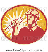 Vector Retro Clipart of a Electrician Lineman Holding a Bolt in an Oval by Patrimonio