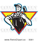 Vector Retro Clipart of a Factory Blacksmith Worker by Patrimonio