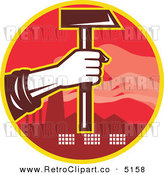 Vector Retro Clipart of a Factory Worker Hand Holding out a Hammer by Patrimonio