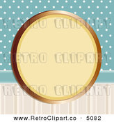 Vector Retro Clipart of a Gold Frame on Blue Polka Dots and Stripes by Elaine Barker