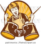 Vector Retro Clipart of a Granny Drummer by Patrimonio