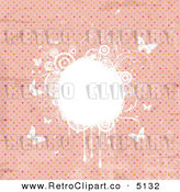 Vector Retro Clipart of a Grungy Pink Polka Dot Background with White Butterflies and Floral Grunge by KJ Pargeter