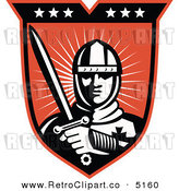 Vector Retro Clipart of a Knight Crusader on a Shield by Patrimonio