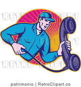 Vector Retro Clipart of a Landline Repair Man Holding a Receiver by Patrimonio