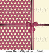 Vector Retro Clipart of a Pink Bow and Polka Dots on Beige by Elaine Barker