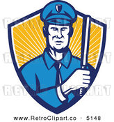 Vector Retro Clipart of a Police Officer Holding a Baton in a Shield by Patrimonio