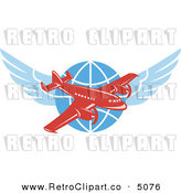 Vector Retro Clipart of a Red Jumbo Jet over a Winged Globe by Patrimonio