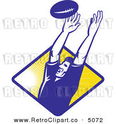 Vector Retro Clipart of a Rugby Player Catching a Line-Out Ball by Patrimonio