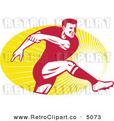 Vector Retro Clipart of a Rugby Player Kicking the Ball over Rays by Patrimonio