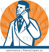 Vector Retro Clipart of a Scientist Talking on a Phone over Orange Rays by Patrimonio