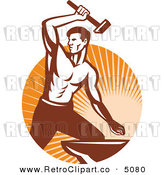 Vector Retro Clipart of a Strong Blacksmith Striking an Anvil with a Hammer by Patrimonio