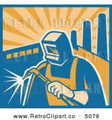 Vector Retro Clipart of a Welder Using a Torch with Factory Smoke Stacks by Patrimonio