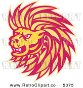 Vector Retro Clipart of a Yellow and Red Angry Lion Head by Patrimonio