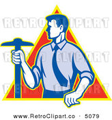 Vector Retro Clipart of an Architect Holding a T-Square Drafting Tool by Patrimonio