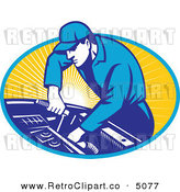 Vector Retro Clipart of an Automobile Mechanic Using a Socket Wrench on a Car Engine by Patrimonio