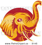 Vector Retro Clipart of an Orange and Red Elephant with a Raised Trunk by Patrimonio