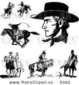 Vector Retro Clipart of Black and White Cowboys and Horses and a Couple by BestVector